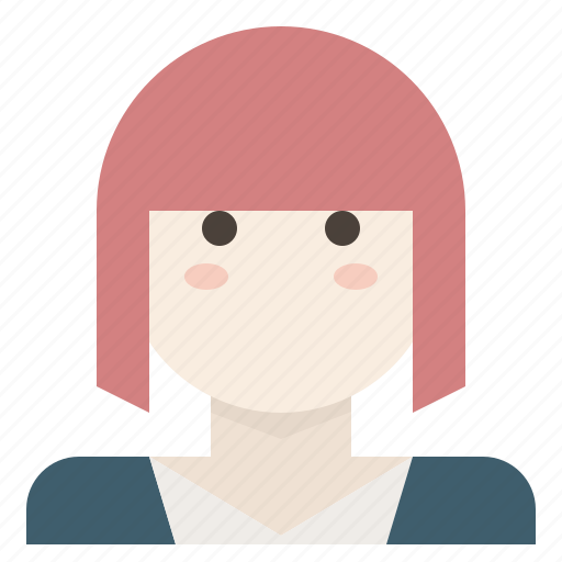 avatar, bangs, bob, female, short, woman icon
