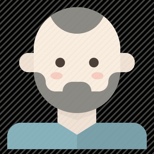 avatar, bald, beard, facial, hair, man, skinhead icon