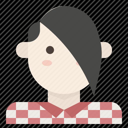 avatar, bangs, boy, emo, plaid, side, swept icon
