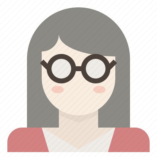 avatar, female, girl, glasses, nerd, wearing, woman icon