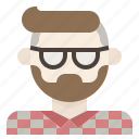 avatar, beard, facial, glasses, hair, hipster, man icon