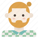 beard, bun, facial, hair, hipster, man, plaid icon