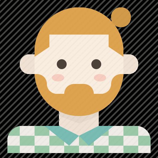 beard, bun, facial, hair, hipster, man, plaid icon