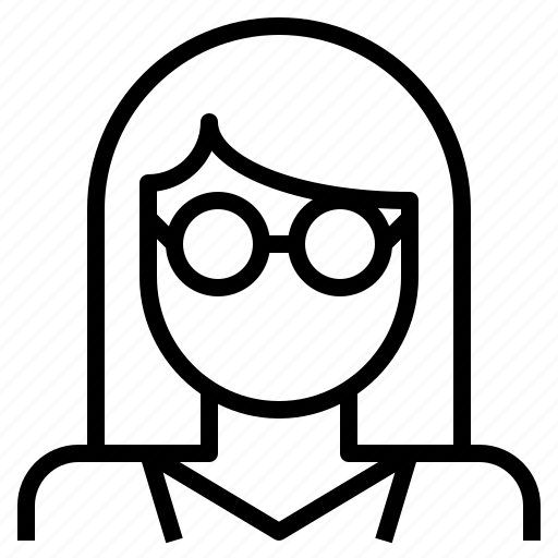 avatar, female, girl, glasses, nerd, wearing, woman icon