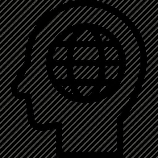 global, head, human, idea, mind, think icon