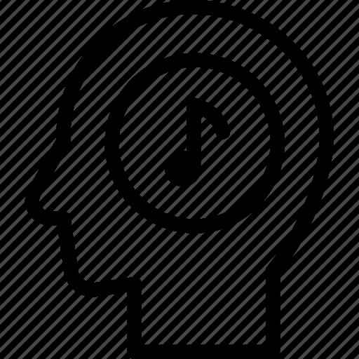 head, human, idea, mind, music, think icon