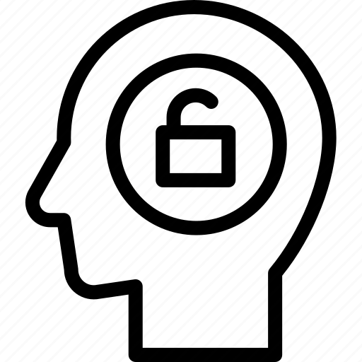 head, human, idea, mind, think, unlocked icon