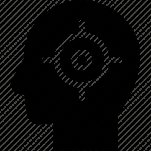 head, human, idea, mind, target, think icon