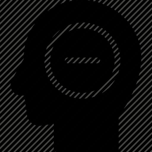 head, human, idea, mind, negative, think icon
