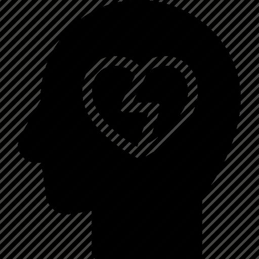 broken, head, human, idea, mind, think icon