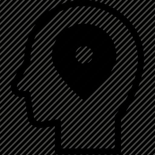 head, human, idea, location, mind, think icon