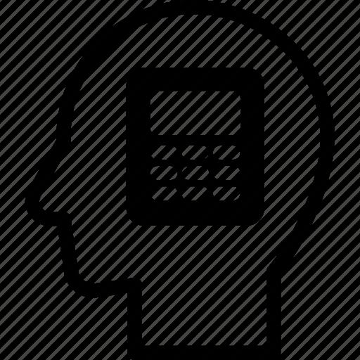calculator, head, human, idea, mind, think icon
