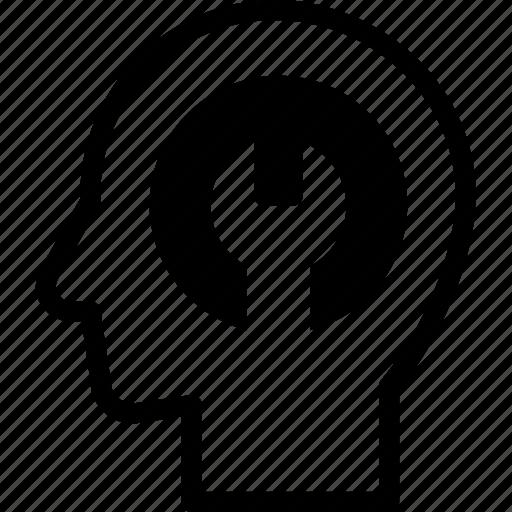 fixed, head, human, idea, mind, think icon