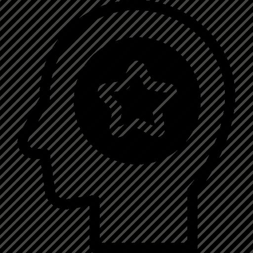 favorite, head, human, idea, mind, think icon