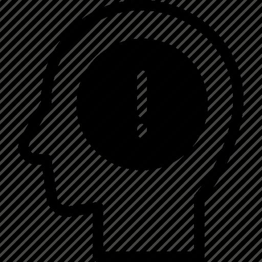 head, human, idea, mind, think, warning icon