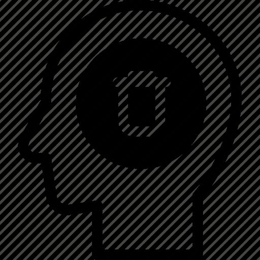 delete, head, human, idea, mind, think icon