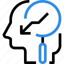 arrow, brain, down, finding, head, mind, research, search icon