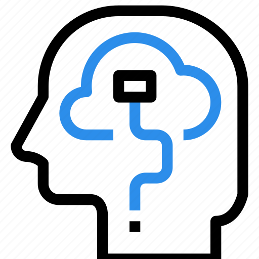 brain, cloud, connect, head, mind, network, storage, thinking icon