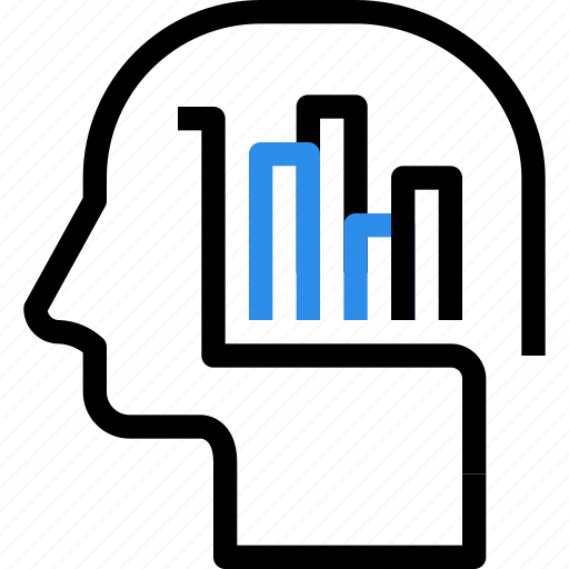 analysis, brain, business, graph, head, mind, report icon