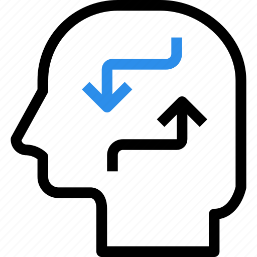 arrow, brain, exchange, head, idea, mind, teamwork, thinking icon
