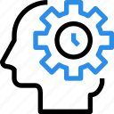 brain, gear, head, management, mind, process, time, timer icon
