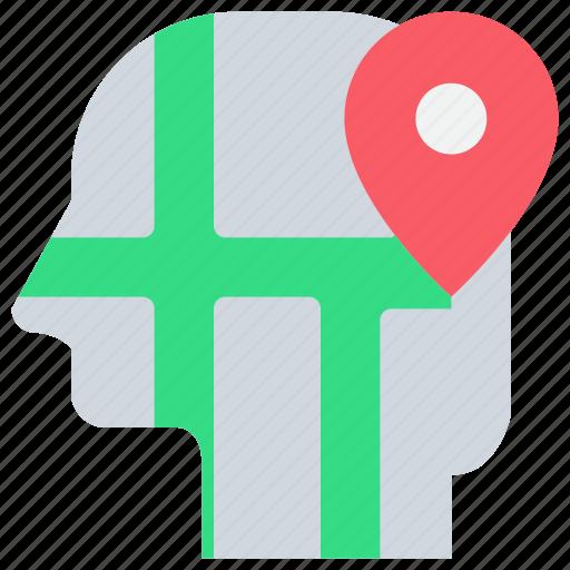 head, location, map, mind icon
