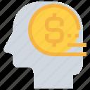 banking, business, finance, head, mind, money icon