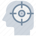 business, focus, head, mind, target icon