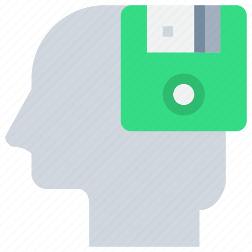 disk, head, memory, mind, save icon