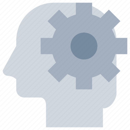 gear, head, mind, process icon