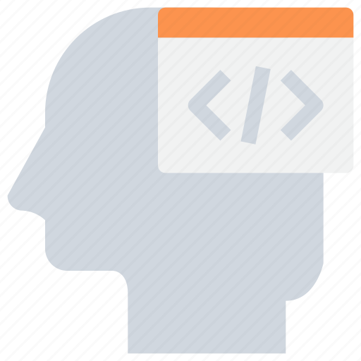 code, coding, development, head, mind icon