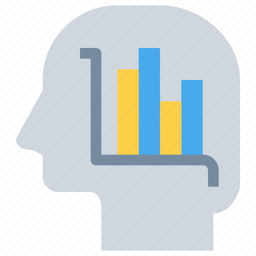 business, graph, head, mind, report icon