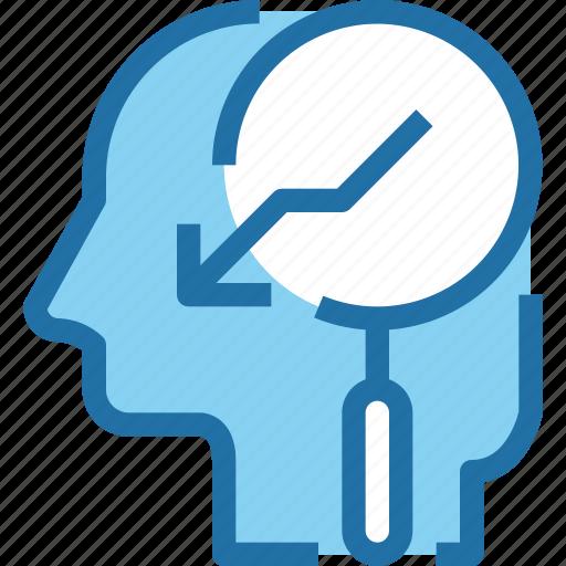 arrow, down, head, human, mind, search icon