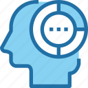 analysis, data, graph, head, human, mind, report icon