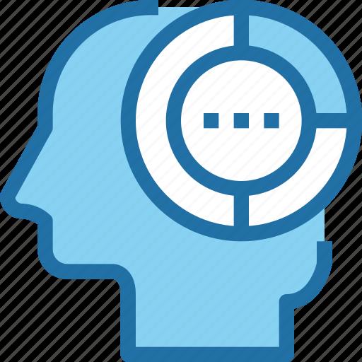 analysis, data, graph, head, human, mind, report icon