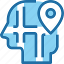 head, human, location, map, mind icon