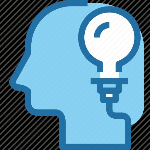 creative, head, human, light, mind, think, thinking icon
