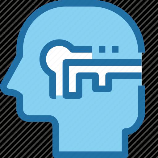 head, human, key, mind, process, security, success icon