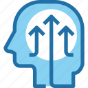 arrow, growth, head, human, mind, process, up icon