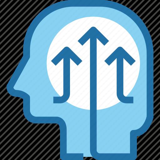 arrow, growth, head, human, mind, process, up icon