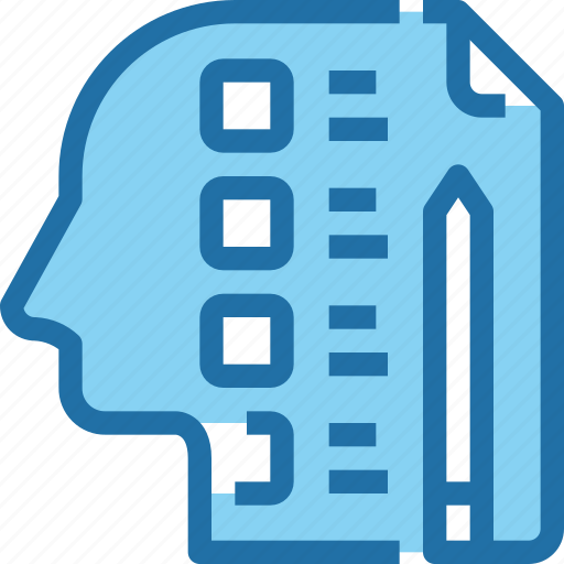 document, head, human, learning, list, mind, testing icon