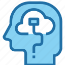 cloud, connect, head, human, mind, think, thinking icon