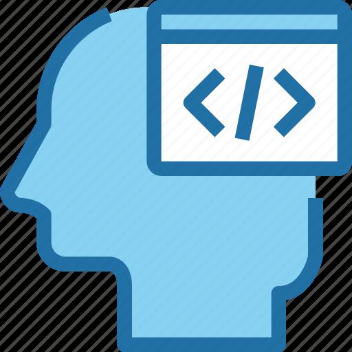 code, coding, develop, head, human, mind icon