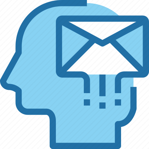 communication, head, human, letter, mail, message, mind icon