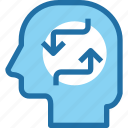 arrow, exchange, head, human, mind, process icon