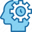 head, human, management, mind, process, time, timer icon