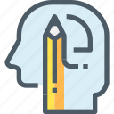 education, head, human, learning, mind, pencil, thinking icon