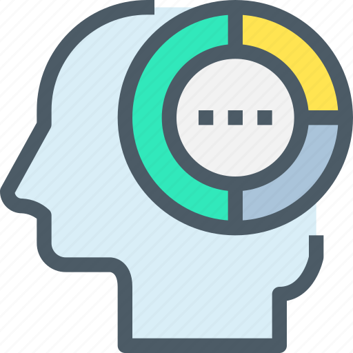 analysis, graph, head, human, mind, thinking icon
