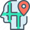 gps, head, human, location, map, mind, thinking icon