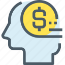 business, coin, head, human, mind, money, thinking icon